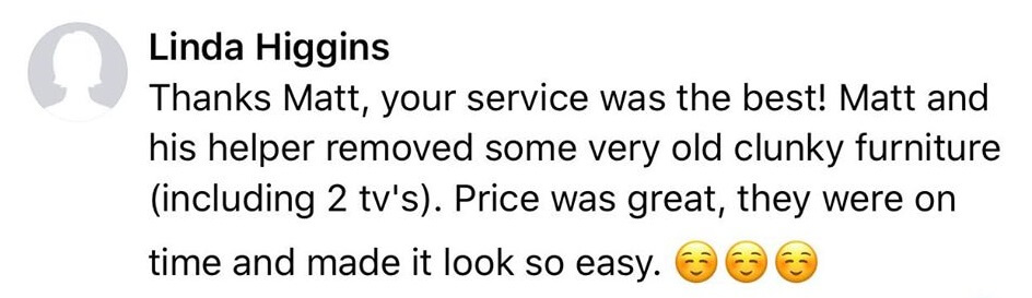 this is an image of a review a Salem junk removal customer left on Facebook
